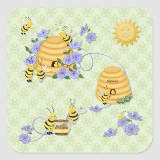 Bee Dance Floral Square Sticker