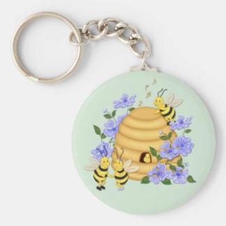Bee Dance Basic Round Button Keychain