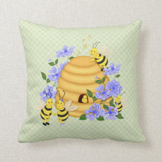 Bee Dance on Green Floral Pillow