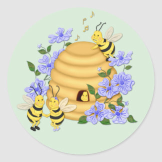 Bee Dance Round Stickers