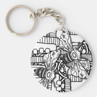 Bee Doodles Basic Round Button Keychain
