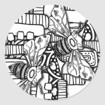 Bee Doodles Classic Round Sticker