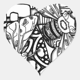 Bee Doodles Heart Sticker
