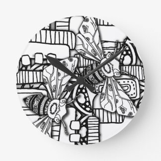 Bee Doodles Round Clock