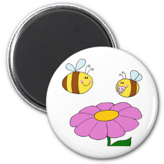 Bee Family at their Flower 2 Inch Round Magnet