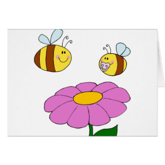 Bee Family at their Flower Card