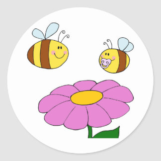 Bee Family at their Flower Classic Round Sticker