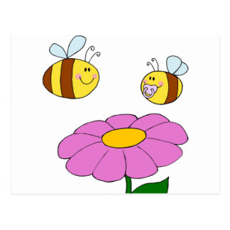 Bee Family at their Flower Postcard