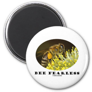 Bee Fearless (Bee On Yellow Flower) 2 Inch Round Magnet