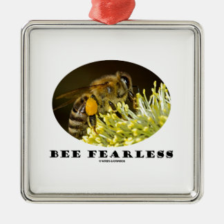 Bee Fearless (Bee On Yellow Flower) Christmas Tree Ornaments