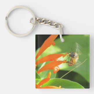 Bee Feeding on Orange Flower Keychain