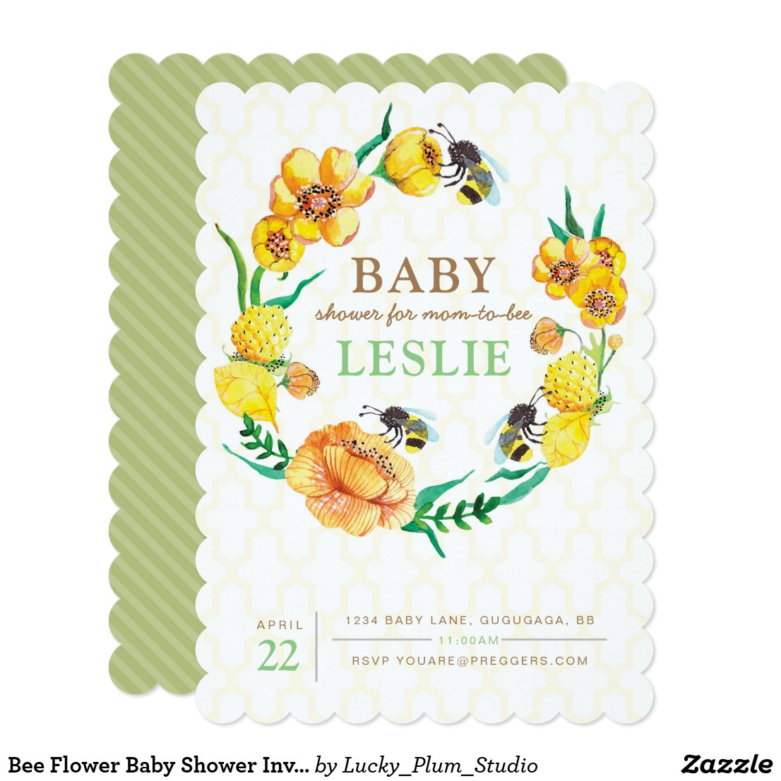 Bee Flower Baby Shower Invite