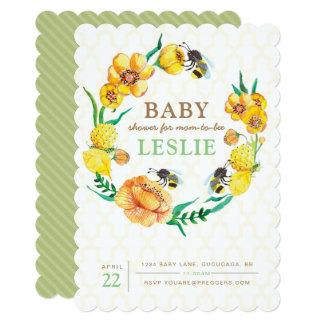 Bee Flower Baby Shower Invite