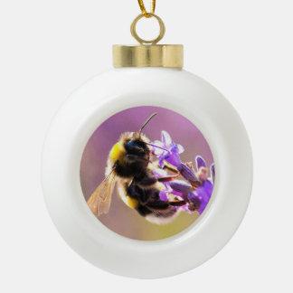 Bee Flower Beautiful Nature Scenery Ceramic Ball Christmas Ornament