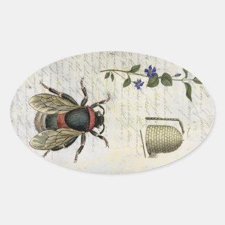 Bee Flower Hive Oval Sticker