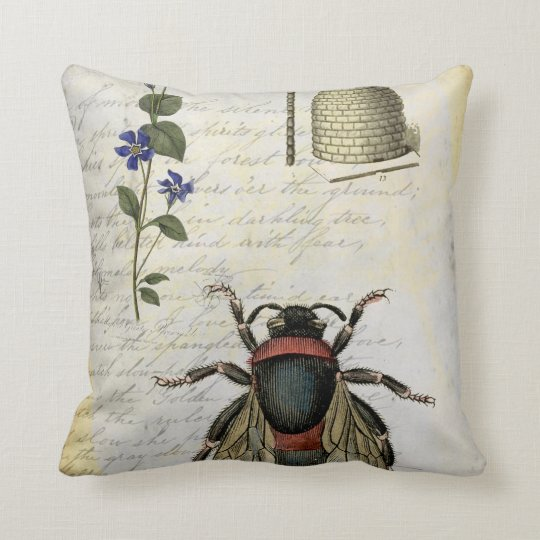 Bee Flower Hive Throw Pillow