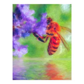 Bee Flower Lake rain impressionist art Letterhead