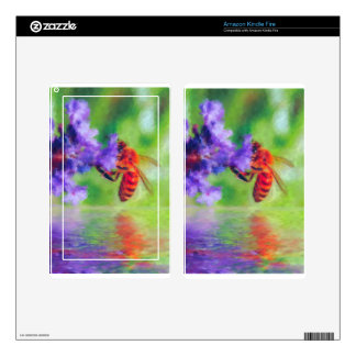 Bee Flower Lake rain impressionist art Skin For Kindle Fire