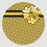 Bee Flying Away From Honeycomb Round Stickers