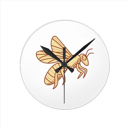 Bee Flying Mono Line Round Clock