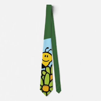 Bee Flying Over Flowers Tie