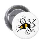 Bee Free Honey and Black 2 Inch Round Button