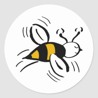 Bee Free Honey and Black Classic Round Sticker