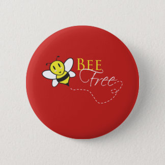 Bee Free Inspirational Design Pinback Button
