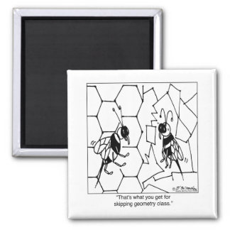 Bee Geometry 2 Inch Square Magnet