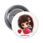 Bee girl with kawaii strawberry button