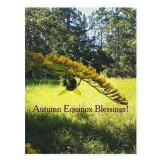 Bee & Goldenrod Autumn Equinox Mabon Postcard
