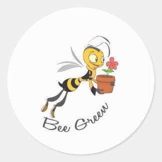 Bee Green Round Sticker
