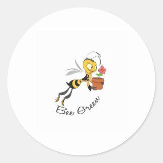 Bee Green Round Stickers