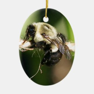 Bee Hanging Onto Twine Ceramic Ornament