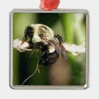 Bee Hanging Onto Twine Metal Ornament