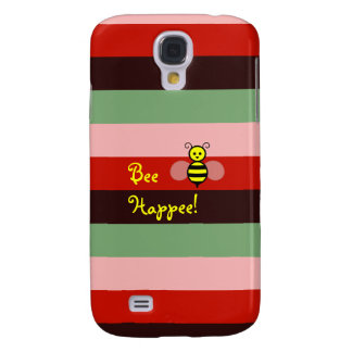 Bee Happee! Bordeaux Red Green Stripe iPhone Case
