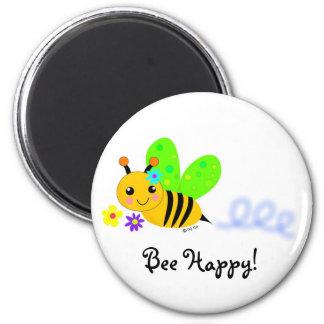 Bee Happy 2 Inch Round Magnet