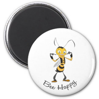 Bee Happy 2 Inch Round Magnet
