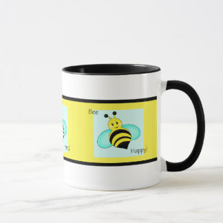 """Bee Happy"" Banded Coffee Mug"