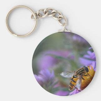 Bee happy basic round button keychain