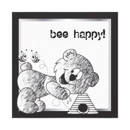 Bee Happy Bear Canvas Designs