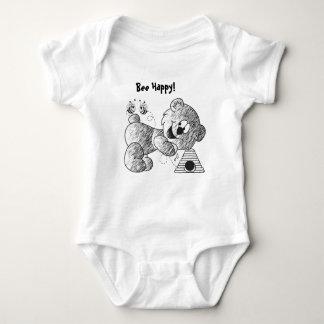 Bee Happy Bear Graphic Pen Drawing Baby Bodysuit