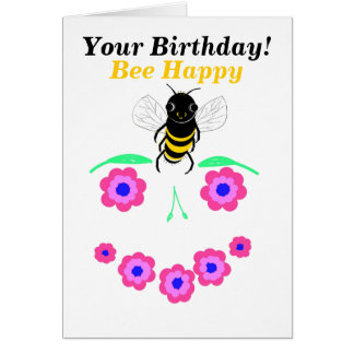 Bee Happy Birthday card customize