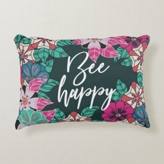 Bee Happy Blossoms Floral Art Accent Pillow