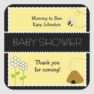 Bee Happy Bumble Bee #2 SQUARE Favor Sticker