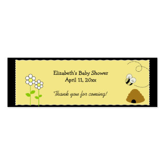 BEE HAPPY BUMBLE BEE Shower / Birthday Favor Tag Double-Sided Mini Business Cards (Pack Of 20)