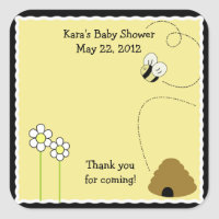 Bee Happy Bumble Bee SQUARE Favor Sticker