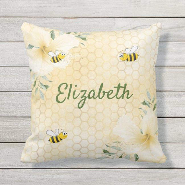 Bee Happy bumble bees yellow honeycomb name humor Outdoor Pillow