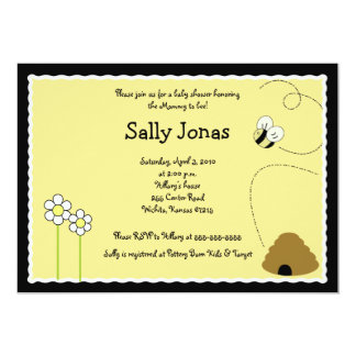 "Bee Happy Bumblebee Baby Shower Invitation 5"" X 7"" Invitation Card"