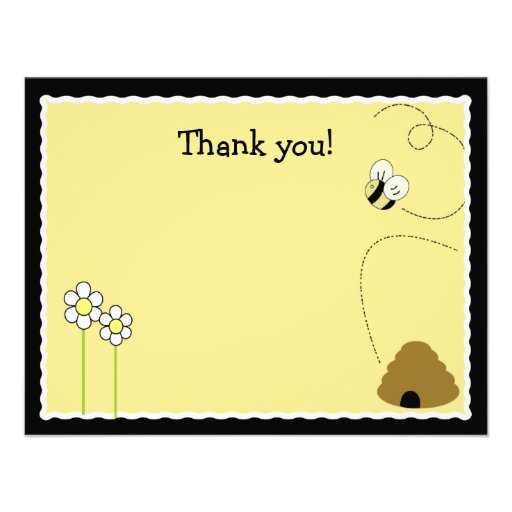 Bee Happy Bumblebee *Matte Finish* Thank you card Custom Announcement